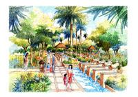 Landscape garden sketch series