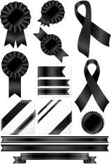 Black Rosettes, Ribbons and Stickers Set