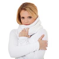 Attractive teenage girl freezing