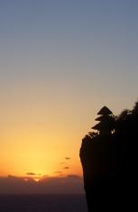 Indonesia, Bali, Bukit Peninsula, Uluwatu cliff temple, sunset.