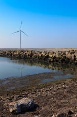 wind turbine power station along the Dutch coast