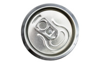 Top view of an unopened drinks can