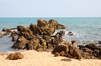 Sea rocks and the beach