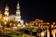 Dresden Elbe river at night
