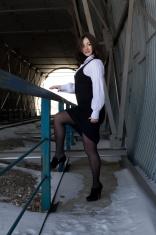 business woman in  railway tunnel