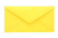 Back side of yellow envelope on white background