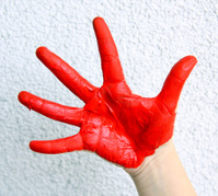 hand-painted in red