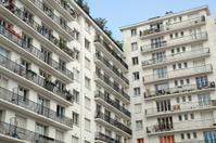 Facade of a living building in Paris, France