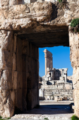 Baalbek ruins - columns seen in the ancient window