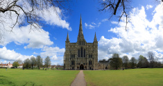 Panoramic picture of Salisbury Cathedral, UK
