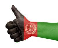 Afghanistan flag on thumb up gesture  like icon