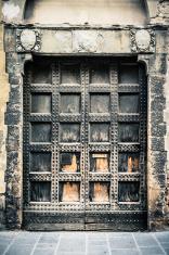 Medieval Reinforced Wooden Door, Frontal View