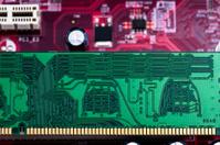 Closeup of computer chip board