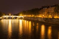 Night photo La Seine River and Pont Marie Bridge Paris