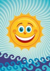 Comic smiling sun.