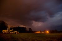 Lightning storm over farm