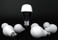 single led bulb shinning over Incandescent light bulbs