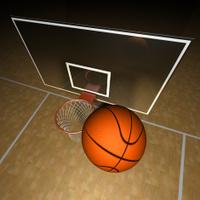 Basketball ball and court