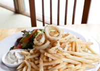 Fried calamari, fries, and salad
