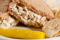 Tuna Sandwich with Chips and a Pickle