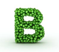 Letter B, alphabet of green apples