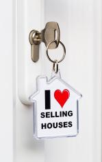 'I Love Selling Houses' key ring