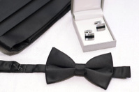 Black bow ties, Cuff Link and belt