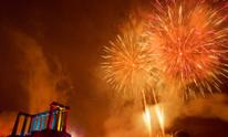 Fireworks display on Calton Hill, Edinburgh, Scotland