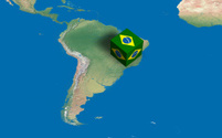Location of Brazil over the map
