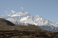 View on the Annapurna range, from village Kagbeni, Mustang