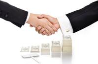 shake hand over money