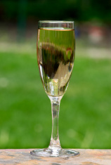 White Wine on Patio Ledge