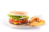 Hamburger with potato wedges