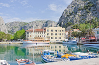 Sea port in Omis, Croatia