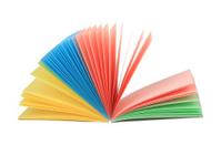 Abstract fan-like open multicolor notepad