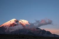 Sunset on the road through Andes. Chimborazo. Ecuador