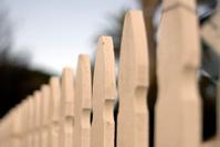 White picket fence detail.