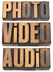 photo, video, audio words in wood type