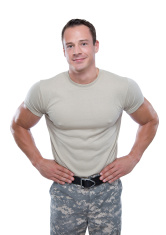 Smiling Soldier with hands on hips
