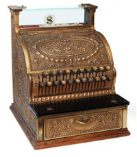 old fashioned cash register, isomorphic view