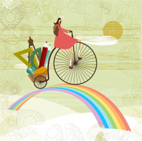 School girl and rainbow