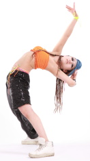girl in various dance costumes