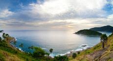 Phuket island sunset panorama. Thailand.