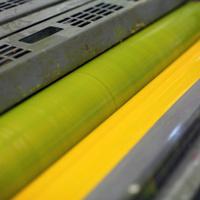 yellow ink part of offset press machine.