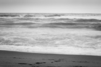 Rough seas in bad weather, black and white