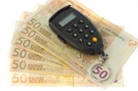 Set of euro banknotes and pin code