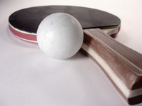 Amateur Ping Pong Paddle and Ball