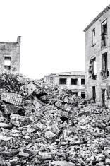 Ruined buildings.