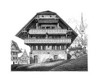 Swiss Style Building, Marbach am Neckar, Germany | Antique Illus