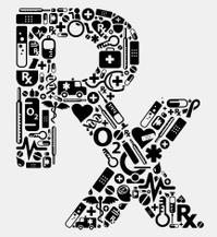 RX prescription shape using medical icons